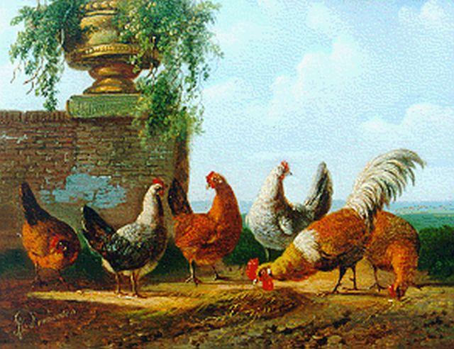 Albertus Verhoesen | A rooster and five chickens, oil on panel, 12.5 x 15.5 cm, signed l.l.