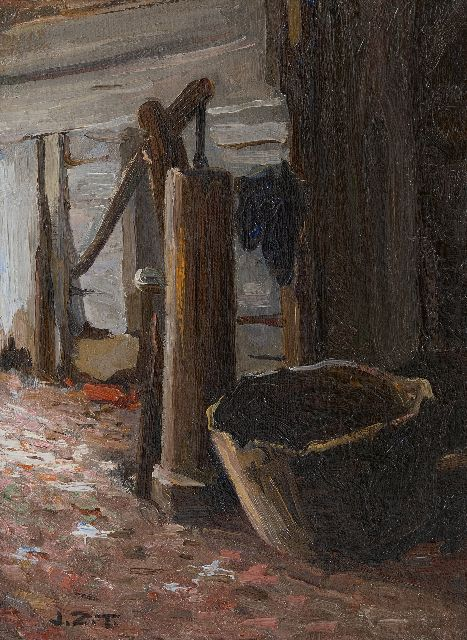 Jan Zoetelief Tromp | Water pump, oil on canvas laid down on cardboard, 31.0 x 23.1 cm, signed l.l. with initials