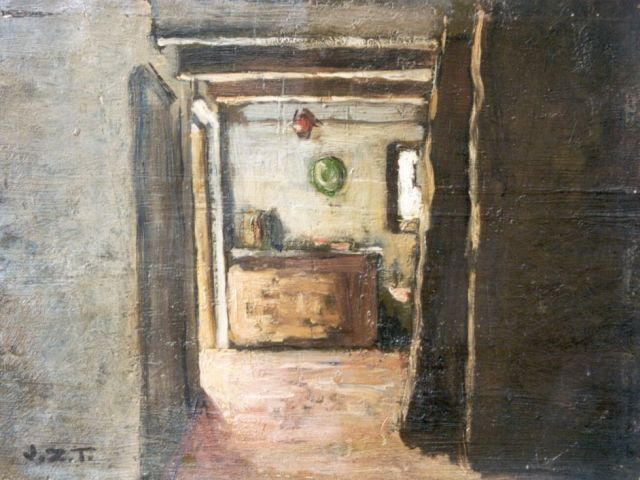 Jan Zoetelief Tromp | Kitchen interior, oil on canvas laid down on cardboard, 21.0 x 27.9 cm, signed l.l. with initials