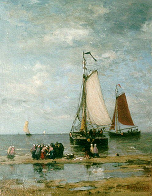 Hendrik Willem Mesdag | Sorting the catch, oil on panel, 51.2 x 39.7 cm, signed l.r.