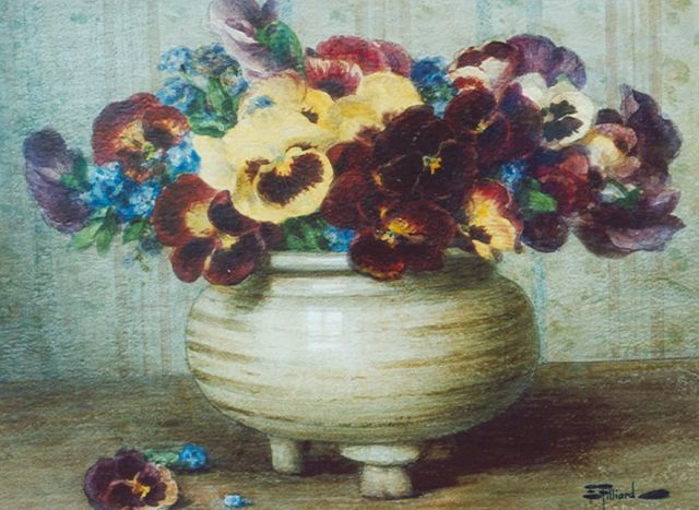 Ernest Filliard | Pansies in an earthenware pot, watercolour on paper, 42.5 x 34.2 cm, signed l.r.