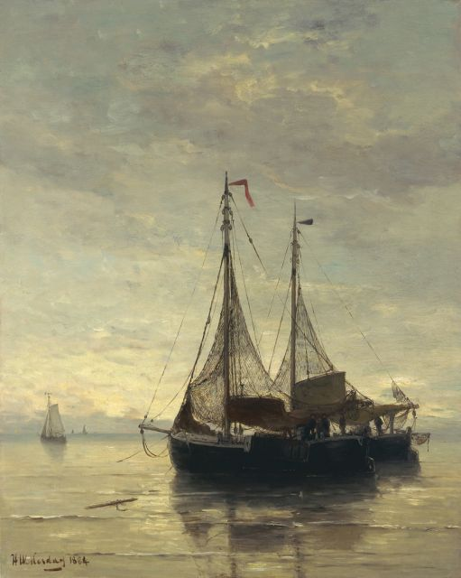 Hendrik Willem Mesdag | Anchored fishing boats, oil on canvas, 71.0 x 57.0 cm, signed l.l. and dated 1884