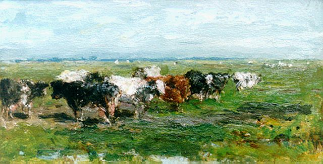 Roelofs W.  | Cows in a meadow, oil on panel, 17.8 x 32.2 cm