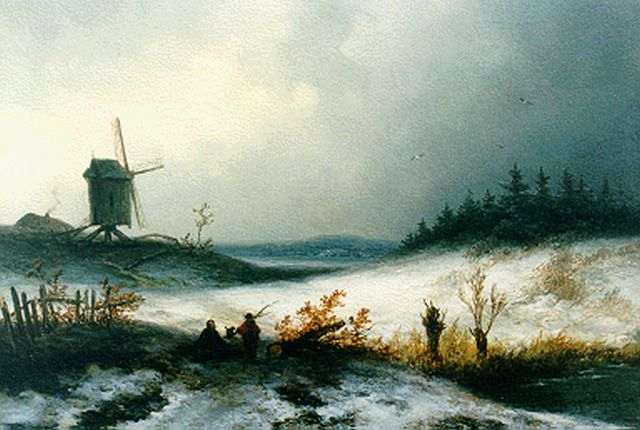 Johannes Franciscus Hoppenbrouwers | A winter landscape with windmill, oil on panel, 17.0 x 24.8 cm, signed l.l.