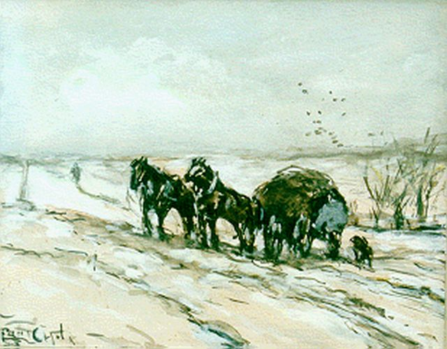 Louis Apol | A hay-wagon in winter, gouache on paper, 11.5 x 14.7 cm, signed l.l.