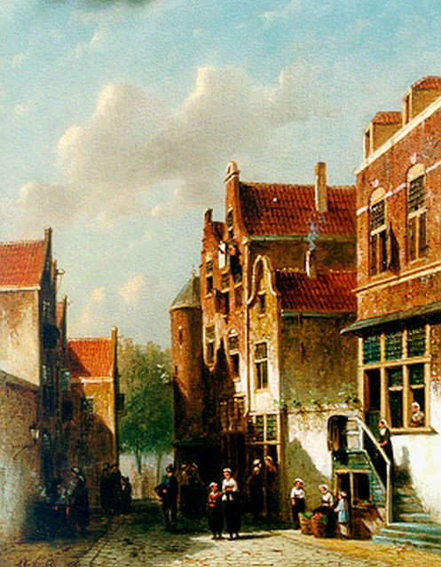 Petrus Gerardus Vertin | Townsfolk in a Dutch town, oil on panel, 37.0 x 28.0 cm, signed l.l. and dated '67