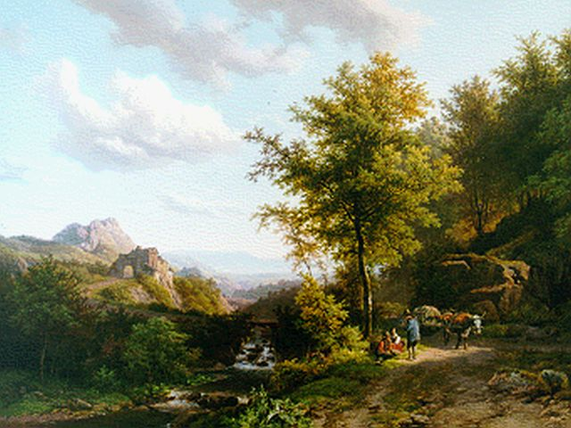 Barend Cornelis Koekkoek | Hilly landscape with resting peasant people under an oak, oil on panel, 38.5 x 51.9 cm, signed l.r. and dated 1843