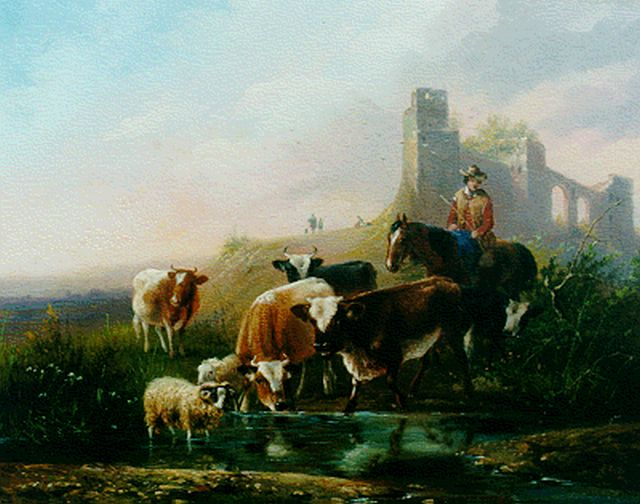 August Knip | Cows and sheep by a stream, oil on panel, 21.3 x 26.8 cm, signed l.r.