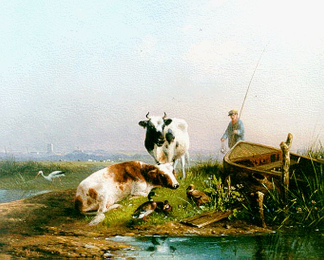 August Knip | Cows and ducks by a stream, oil on panel, 21.3 x 26.8 cm, signed l.l.