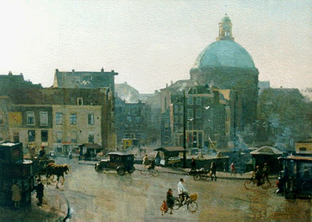 Cornelis Vreedenburgh | A view of Amsterdam, with the Ronde Lutherse Kerk beyond, oil on canvas, 70.8 x 100.5 cm, signed l.r. and dated 1940