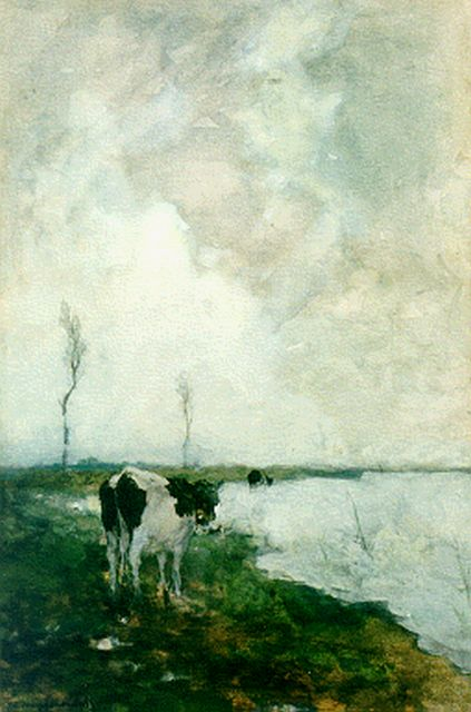 Jan Hendrik Weissenbruch | A cow in a polder landscape, watercolour on painter's board, 44.0 x 29.5 cm, signed l.l.