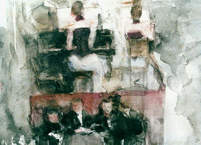 Isaac Israels | Dinner-dance, watercolour on paper, 23.4 x 32.3 cm