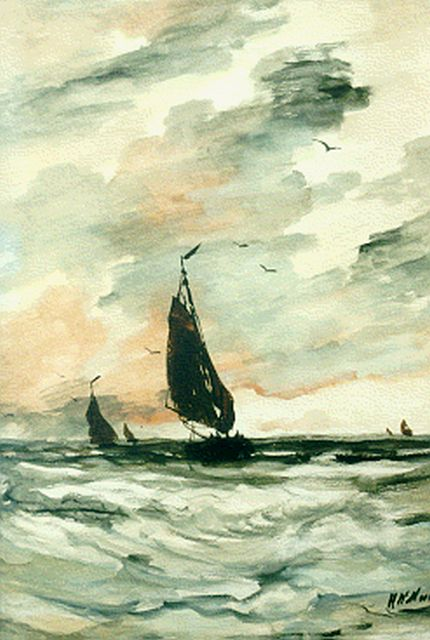 Hendrik Willem Mesdag | Sailing vessels on choppy waters, watercolour on paper, 54.9 x 38.4 cm, signed l.r.