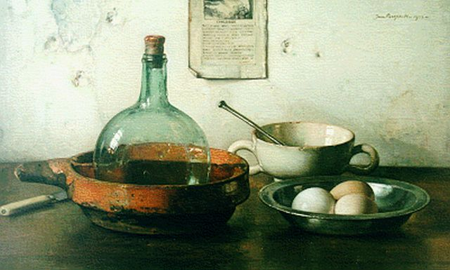 Jan Bogaerts | A still life with eggs, oil on canvas, 39.9 x 65.1 cm, signed u.r. and dated 1933
