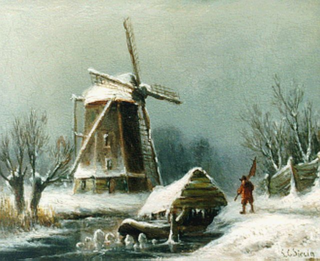 Louis Sierich | A winter landscape with windmill, oil on panel, 13.3 x 16.4 cm, signed l.r.