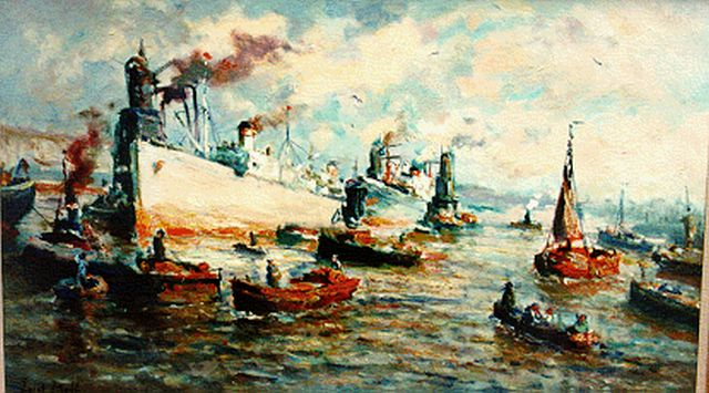 Evert Moll | Harbour activities, Rotterdam, oil on canvas, 60.0 x 100.0 cm, signed l.l.