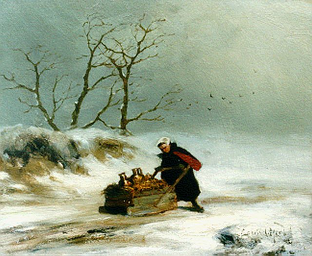 Louis Apol | Woman with sledge in winter, oil on panel, 19.2 x 23.6 cm, signed l.r. and painted ca. 1872-1875
