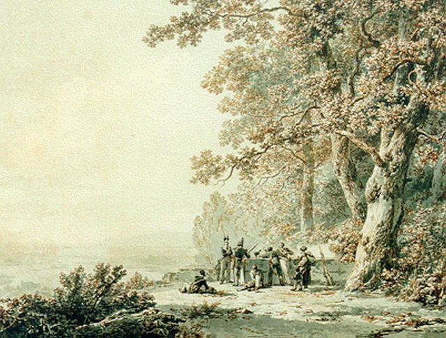 Barend Cornelis Koekkoek | Soldiers in a panoramic landscape, sepia on paper, 25.2 x 32.7 cm, signed l.r. and dated 1830