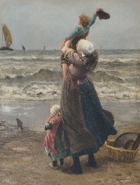 Bernard Blommers | Waving father goodbye, oil on canvas, 76.0 x 58.2 cm, signed l.r.