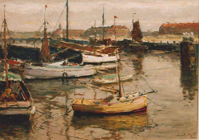 Evert Moll | Moored sailing vessels, Scheveningen, oil on canvas, 50.2 x 70.4 cm, signed l.r.