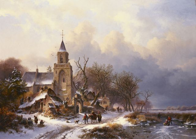 Frederik Marinus Kruseman | A winter landscape with figures on the ice, a church in the distance, oil on canvas, 79.0 x 111.3 cm, signed l.l. and dated 1858