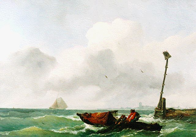 Albertus van Beest | Pulling in the nets, oil on panel, 36.7 x 52.2 cm, signed l.r.
