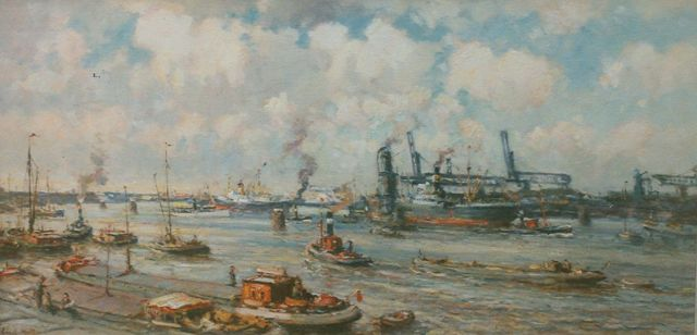Evert Moll | Shipping in the harbour, oil on canvas, 63.5 x 125.2 cm, signed l.l.