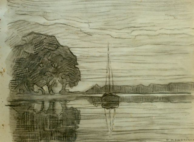 Mondriaan P.C.  | View of the Amstel, pencil on paper, 19.0 x 25.0 cm, signed l.r.