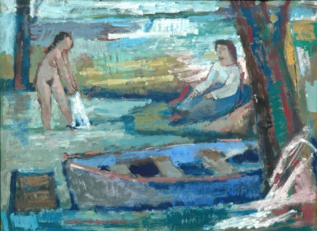 Jan Battermann | Bathing women, gouache on paper, 50.0 x 65.5 cm, signed l.l. and dated '58