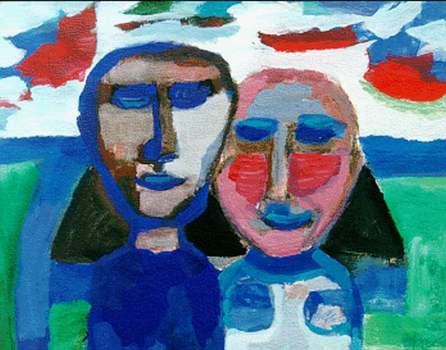 Gerrit Benner | A couple, gouache on paper, 50.0 x 65.5 cm, signed l.r. and dated on the reverse 1967