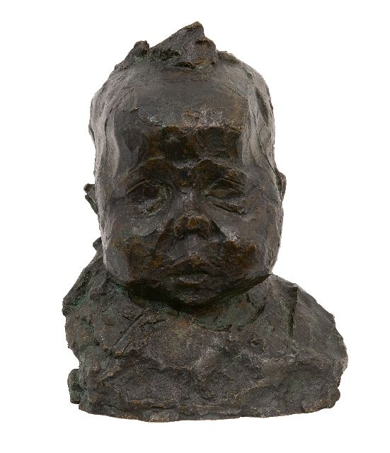 Zijl L.  | A baby's head, bronze 21.0 cm, signed on the back with initials and made in june '93