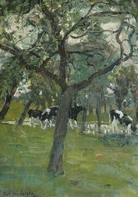 Mondriaan P.C.  | Cows by a stream, oil on canvas laid down on painter's board, 37.4 x 27.1 cm, signed l.l. and painted between 1902-1905