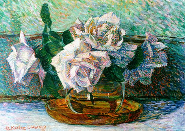 Jo Koster | A still life with roses, oil on canvas, 27.3 x 38.5 cm, signed l.l. and dated 1917