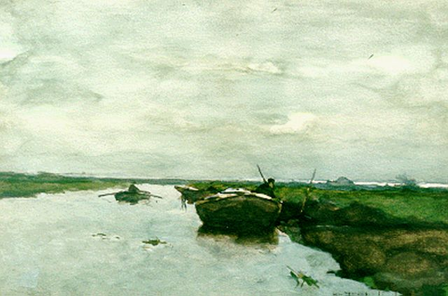 Jan Hendrik Weissenbruch | A polder landscape, watercolour on paper, 35.5 x 53.2 cm, signed l.r.