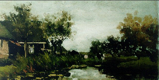 Jan Hendrik Weissenbruch | A farm along a river, oil on canvas laid down on panel, 20.0 x 38.3 cm, signed l.r.