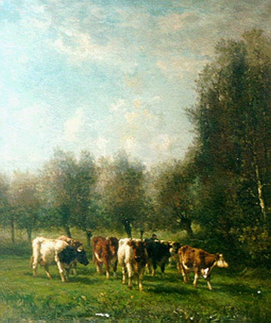 Jan Vrolijk | Cows in a meadow, oil on canvas, 120.0 x 100.2 cm, signed l.l.