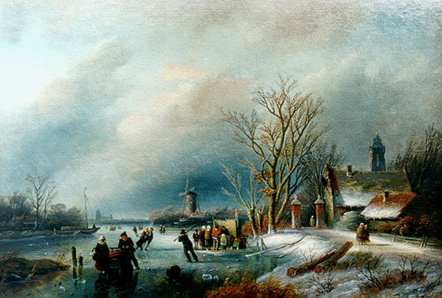 Jan Jacob Spohler | Skaters on the ice and a 'koek and zopie', oil on panel, 25.6 x 38.3 cm, signed l.l.
