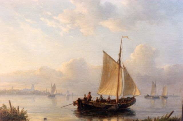 Lodewijk Johannes Kleijn | Shipping in a calm, oil on panel, 19.5 x 26.4 cm