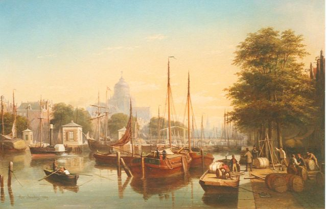 Scheerboom A.  | View of the Amstel, with the 'Paleis van Volksvlijt'  beyond, oil on canvas 60.4 x 91.6 cm, dated 1869