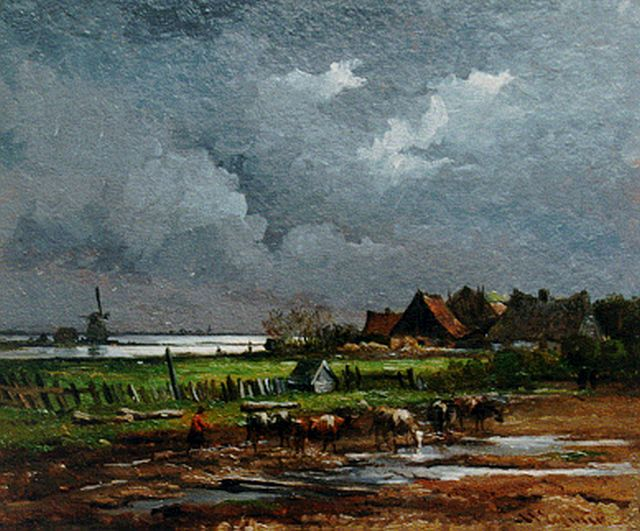 Arnoldus Johannes Eymer | Upcoming storm, 25.7 x 31.3 cm, signed l.r.