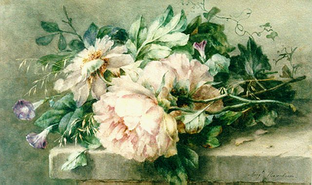 Margaretha Roosenboom | A still life with peonies and hedge bindweed, watercolour on paper, 40.6 x 65.2 cm, signed l.r.