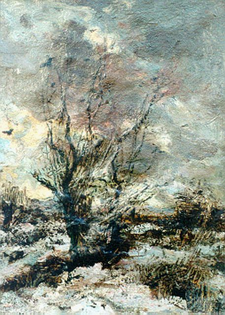 Jacob Maris | A winter landscape, oil on canvas, 29.9 x 22.5 cm, signed l.r.