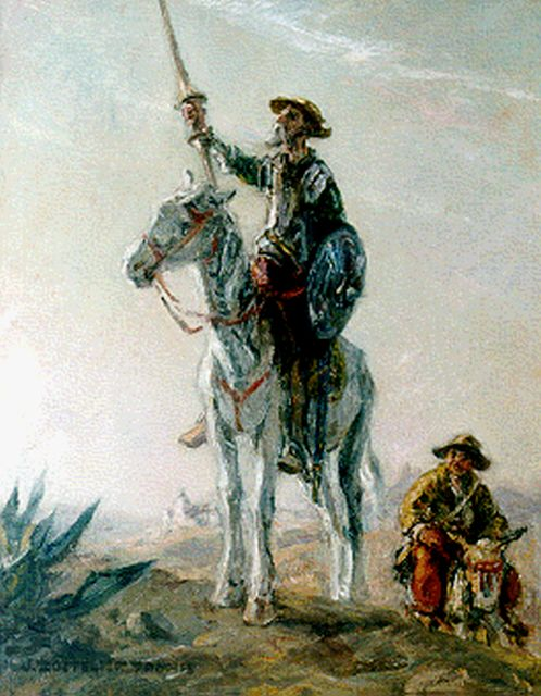 Jan Zoetelief Tromp | Don Quichote and Sancho Panza, oil on canvas, 50.2 x 40.2 cm, signed l.l.