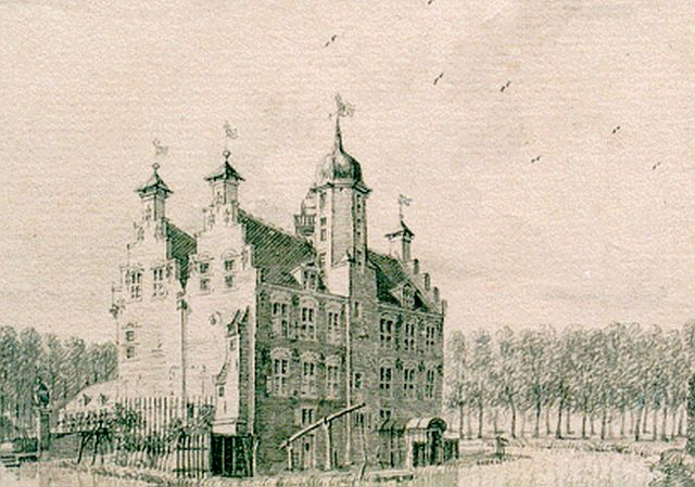 Beijer J. de | A view of 't Huys Oude Ghijn', watercolour on paper 6.9 x 9.9 cm, signed on the reverse