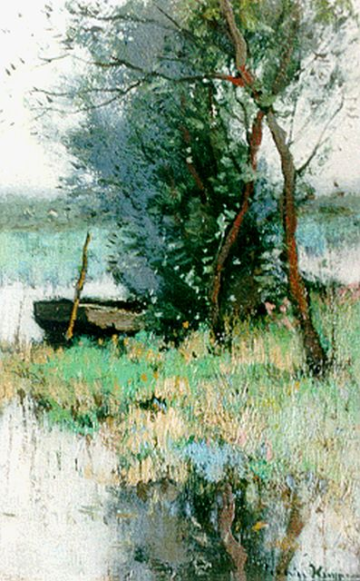 Cornelis Kuijpers | A moored barge in a polder landscape, oil on canvas, 20.7 x 13.2 cm, signed l.r.