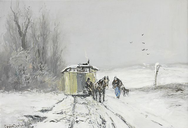Louis Apol | A caravan in a winter landscape, gouache on paper, 43.8 x 62.5 cm, signed l.l.