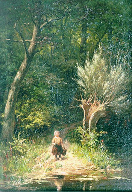 Johan Georg Gerstenhauer Zimmerman | A little girl by a forest pond, oil on panel, 32.9 x 23.3 cm, signed l.r.