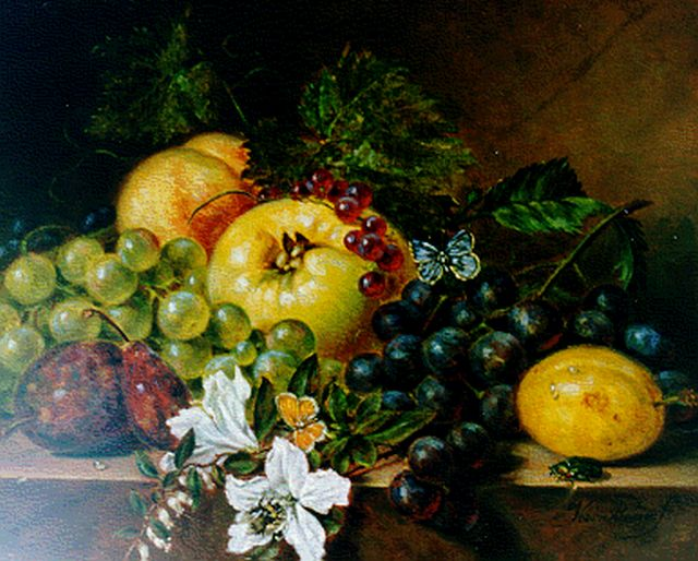 Sebastiaan Theodorus Voorn Boers | A still life with grapes, prunes, flowers and a butterfly, oil on panel, 23.6 x 30.0 cm, signed l.r.