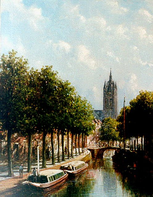 Petrus Gerardus Vertin | A view of Delft with the Oude Kerk in the distance, oil on panel, 24.5 x 18.6 cm, signed l.r.