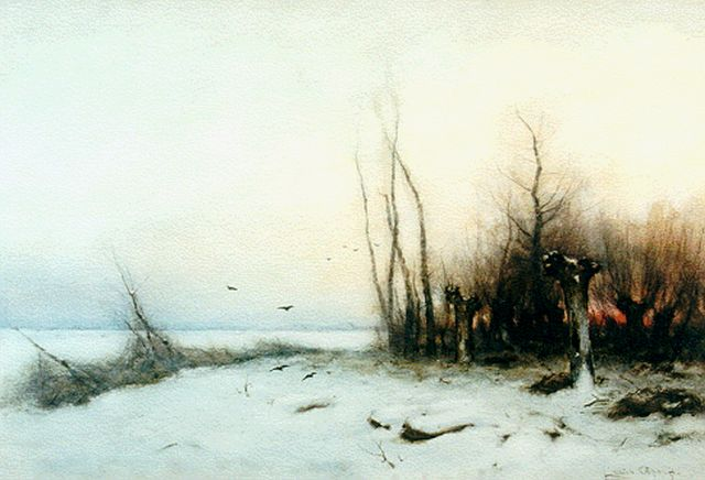 Louis Apol | A coulourful daybreak  in winter, watercolour on paper, 37.0 x 54.7 cm, signed l.r.